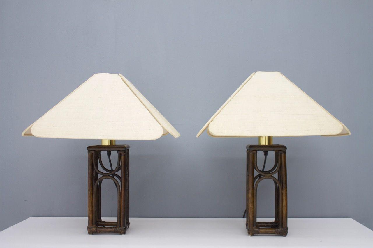 Bambus Tischlampen, 1970er, 2er Set