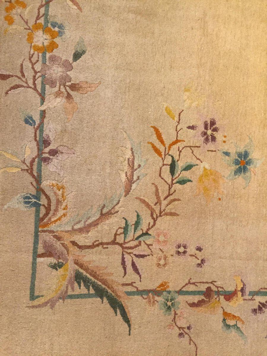 chinesischer art deco flora teppich 1920er bei pamono kaufen. Black Bedroom Furniture Sets. Home Design Ideas