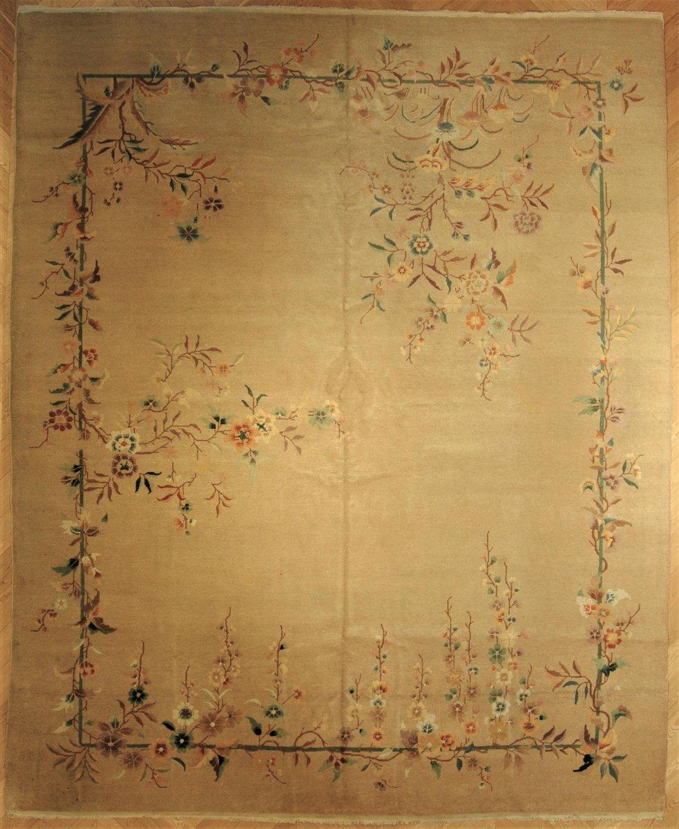 Tapis Flora Art Deco Chine 1920s En Vente Sur Pamono