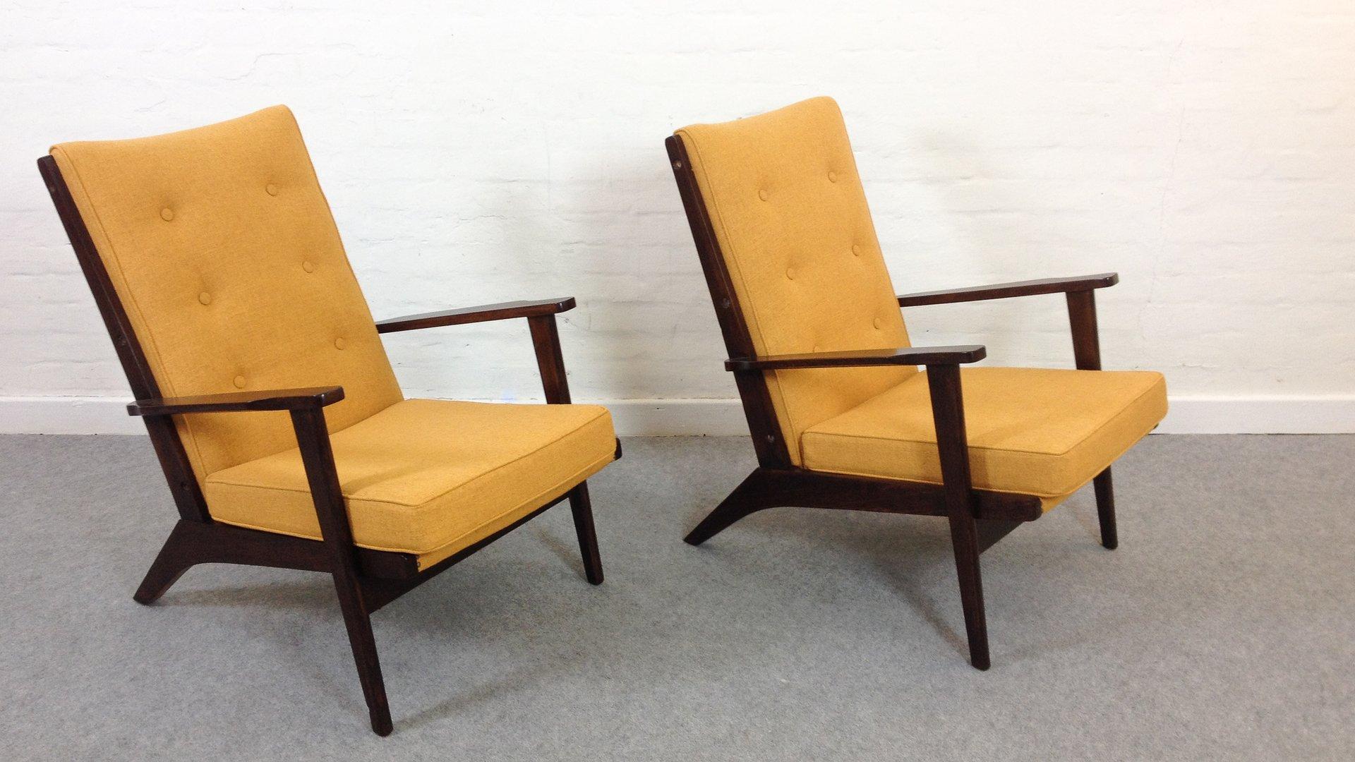 mid century sessel in senfgelb von parker knoll 1950er 2er set bei pamono kaufen. Black Bedroom Furniture Sets. Home Design Ideas