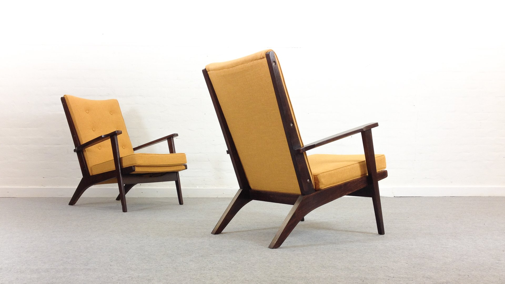 Mid Century Mustard Yellow Lounge Chairs From Parker Knoll Set For Sale Pamono