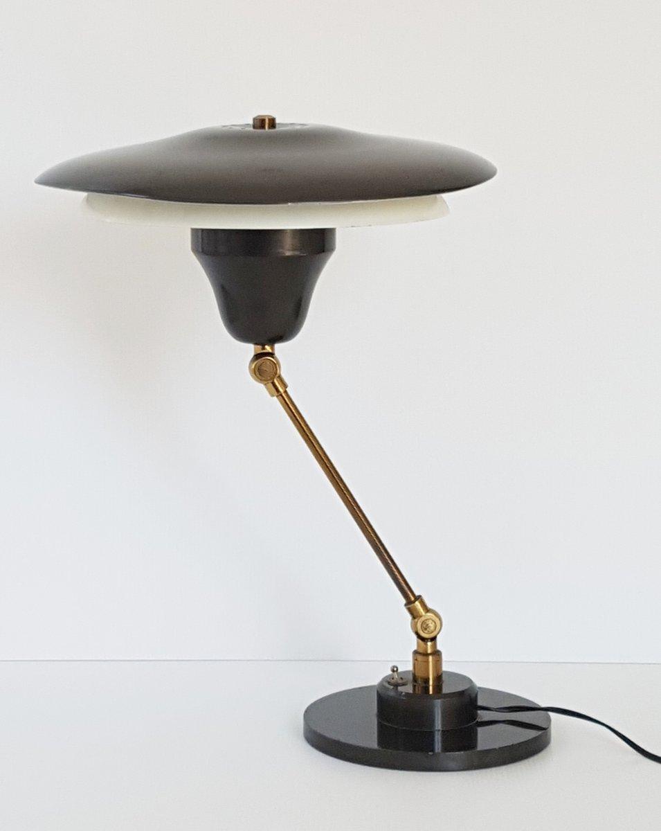 Mid-Century Tischlampe aus Stahl & vergoldetem Messing, 1950er