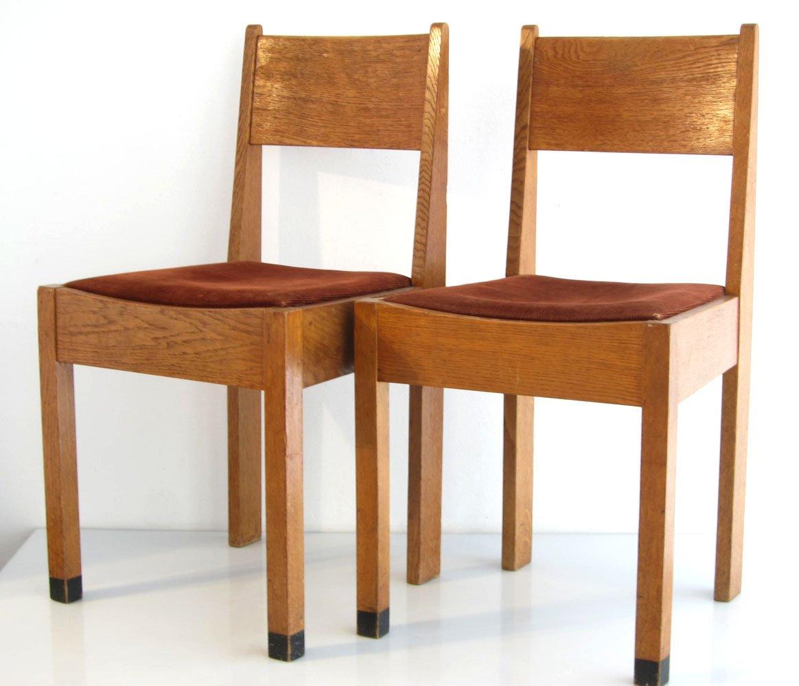 amsterdamer schule eichenholz st hle 1920er 2er set bei. Black Bedroom Furniture Sets. Home Design Ideas