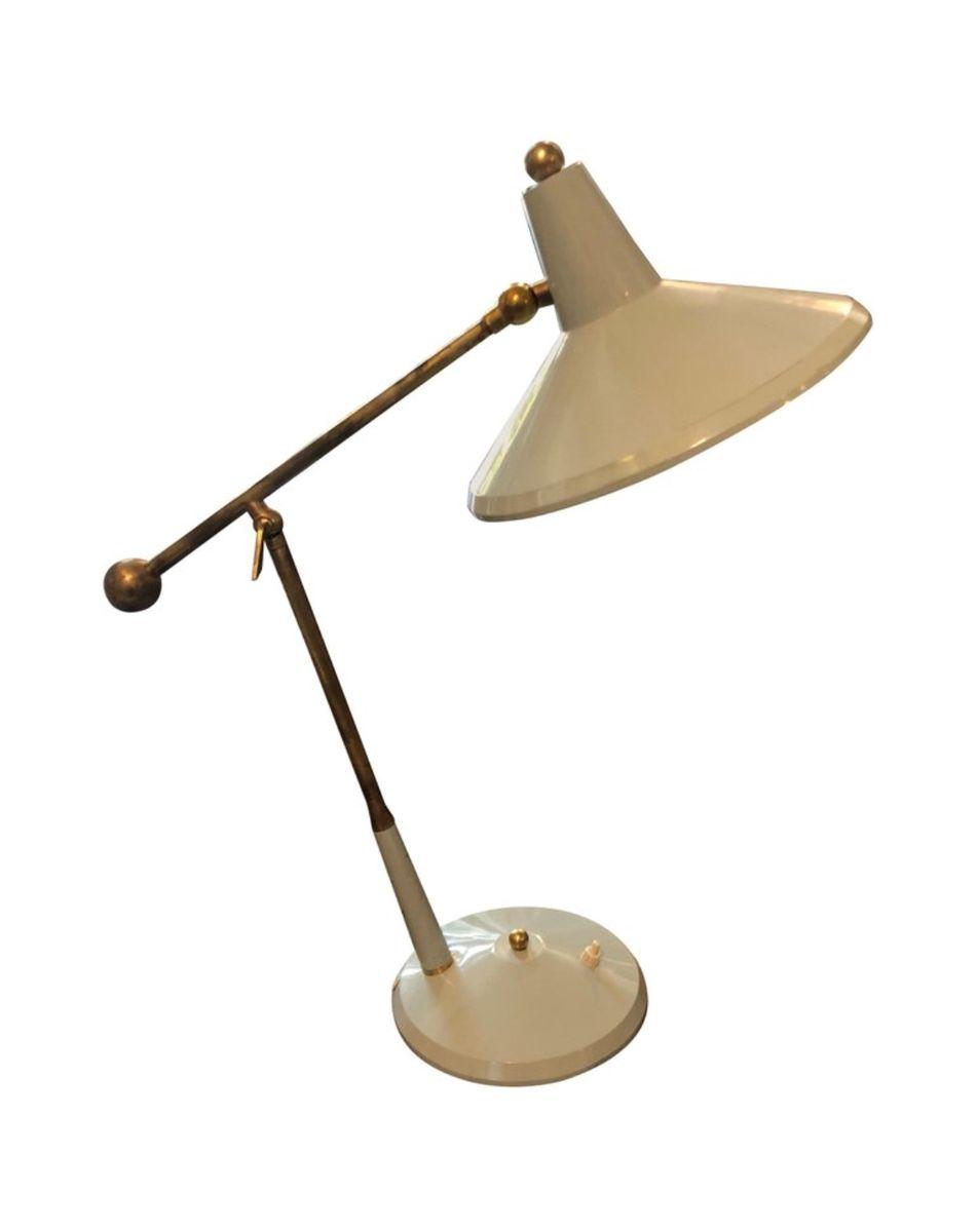 Italienische Tischlampe aus Messing & grauem Metall, 1960er