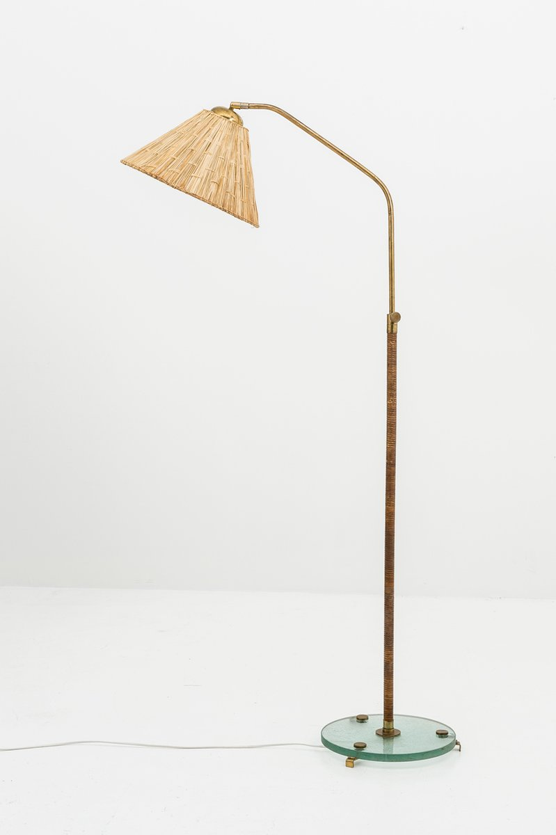 Swedish brass and rattan floor lamp 1930s