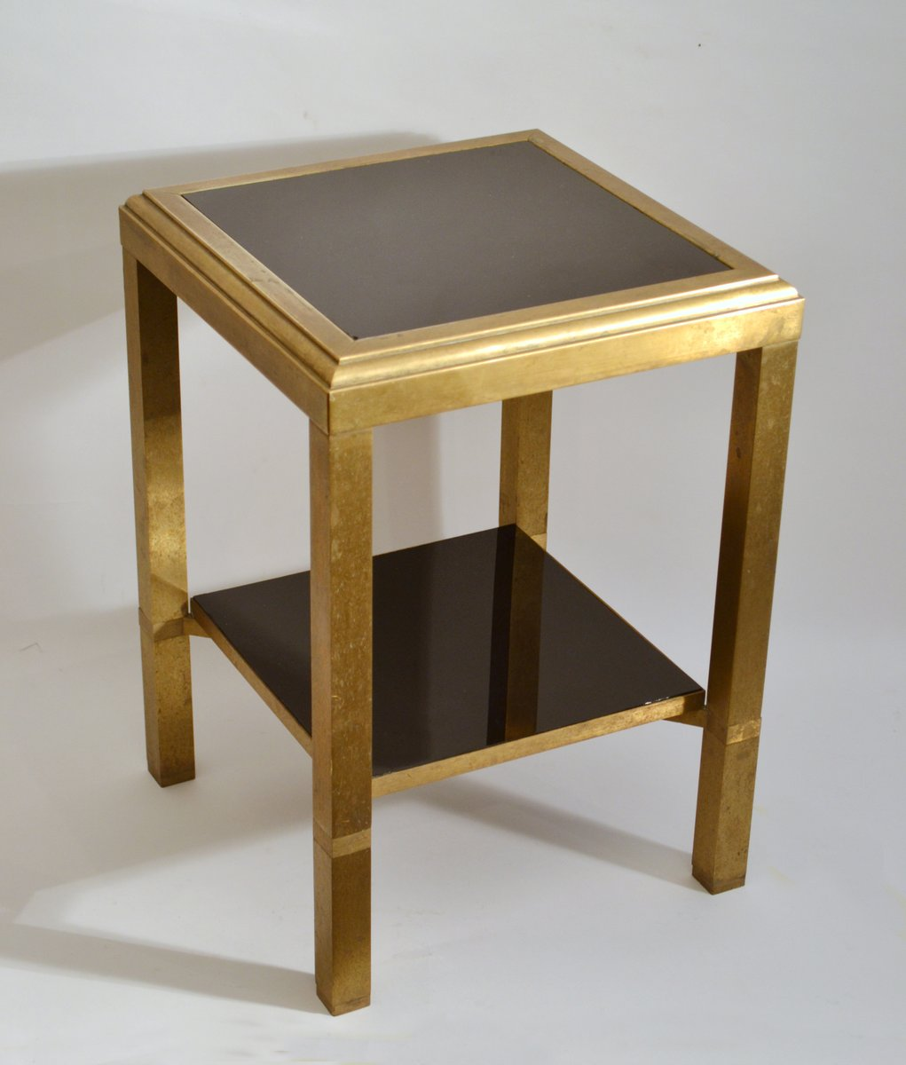 Brass Square Side Tables With Level Black Glass Shelves Set Of - Black and brass side table