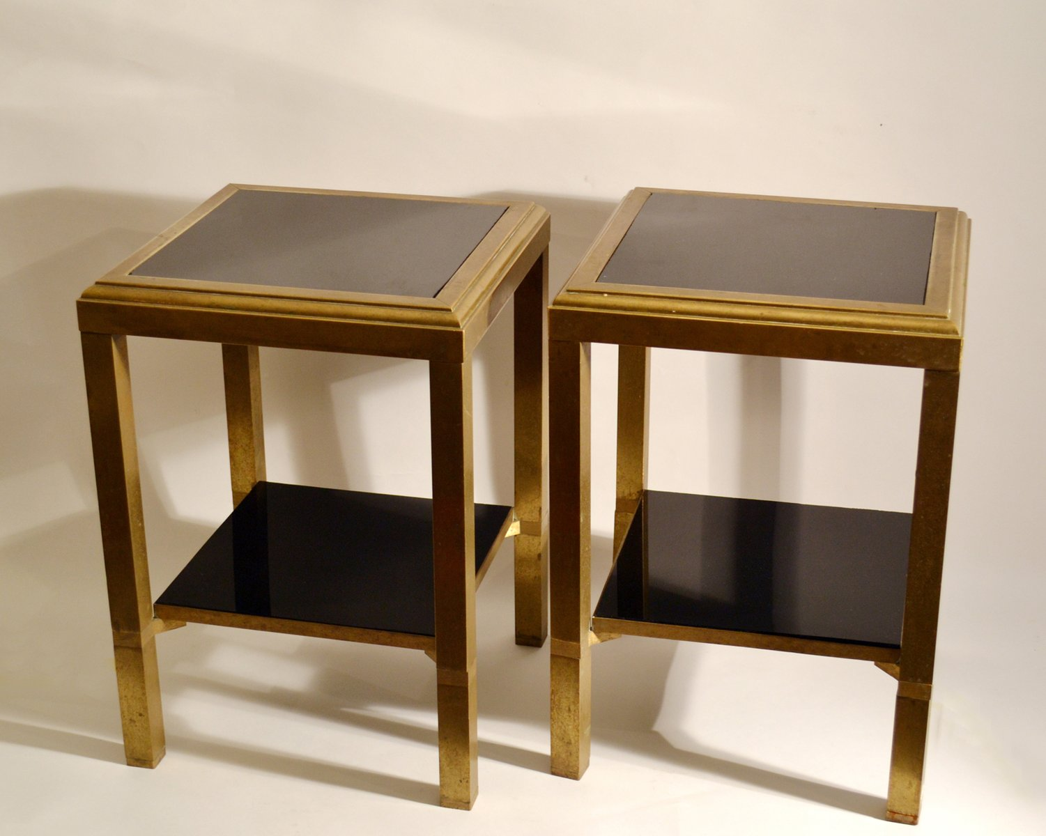 Black Glass Side Table: Brass Square Side Tables With 2-Level Black Glass Shelves
