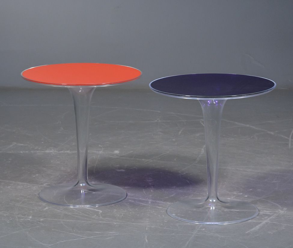Vintage Industrial Space Age Coffee Table For Sale At Pamono: Transparent Acrylic Tulip Side Tables, 1970s, Set Of 2 For