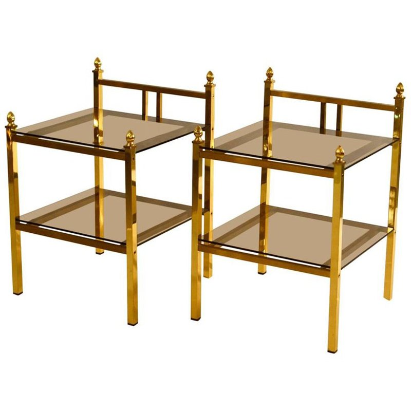 French Brass Side Tables with Glass Shelves, 1970s, Set of 2 for ...