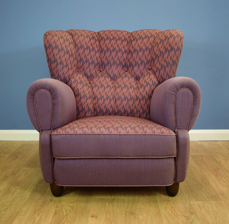 Excellent Danish Pink Purple Wool Club Chair 1940S Beatyapartments Chair Design Images Beatyapartmentscom