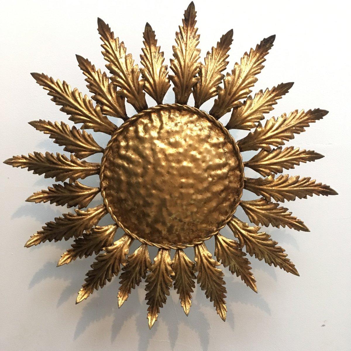 Spanische vergoldete Metall Sonnenblumen Deckenlampe, 1950er