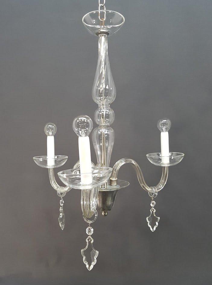 Vintage Kristallglas Kronleuchter mit drei Armen