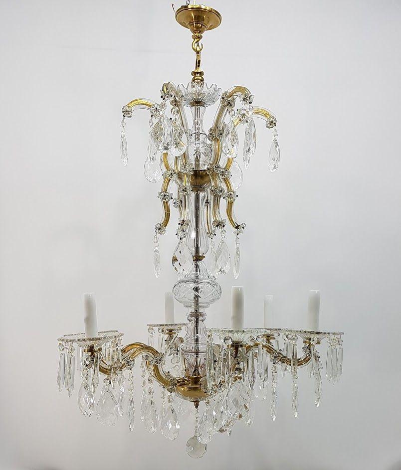 Antiker 6-Armiger Kristallglas Kronleuchter