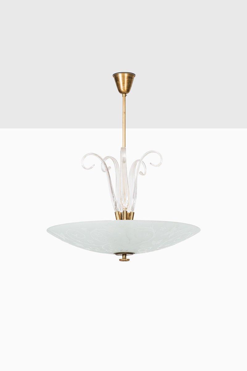 Vintage Deckenlampe aus Messing & geätztem Glas