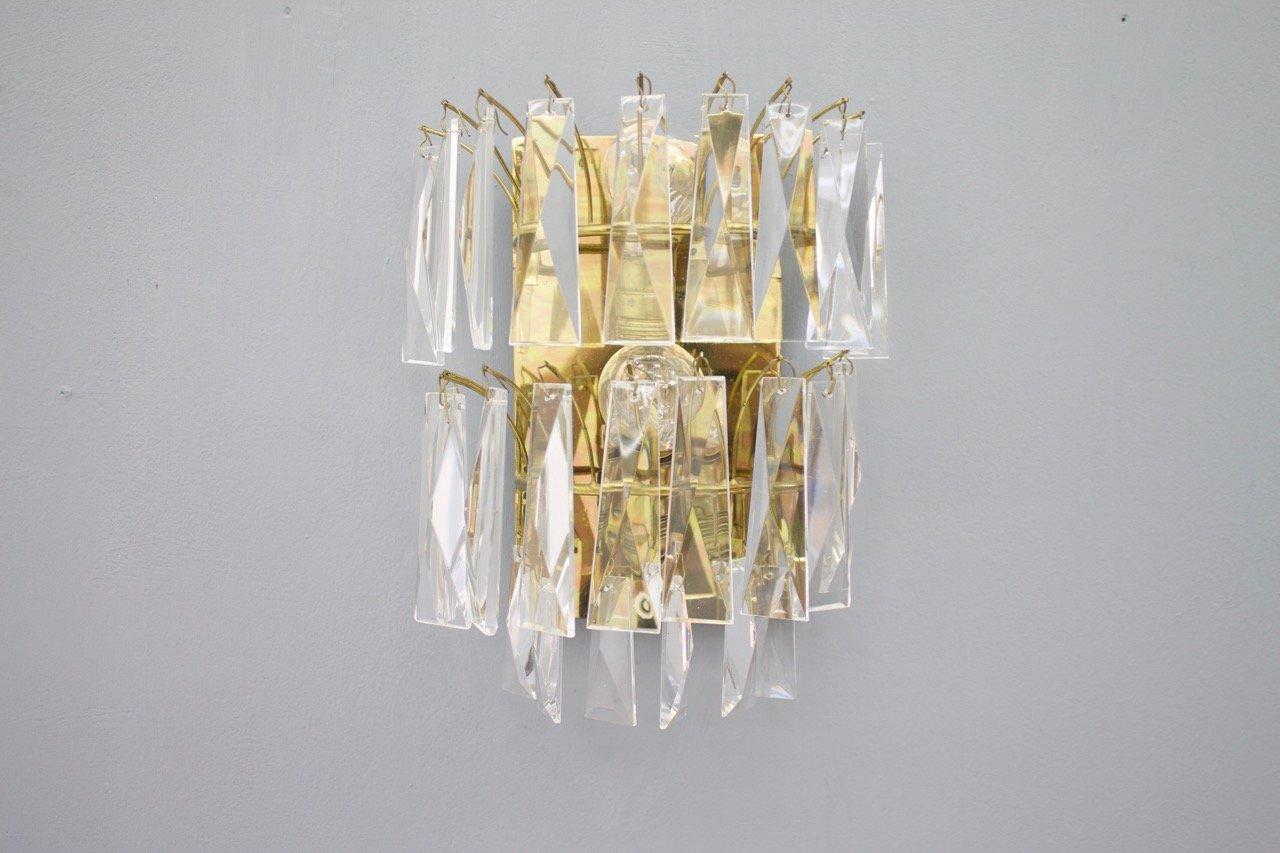 Messing & Glas Wandlampen, 1960er, 2er Set