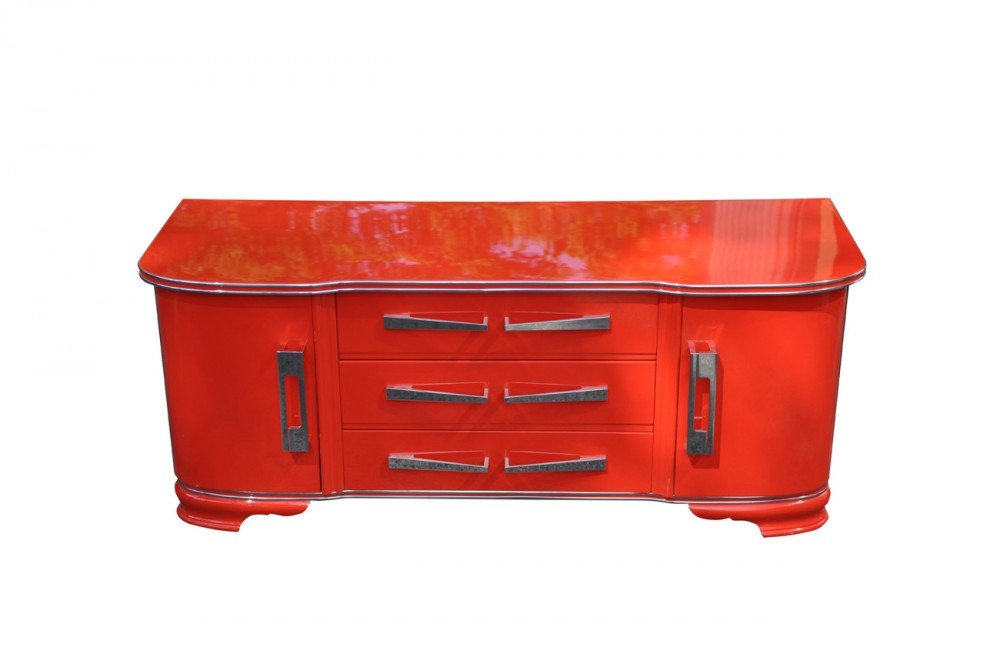 rote art deco kommode 1930er bei pamono kaufen. Black Bedroom Furniture Sets. Home Design Ideas