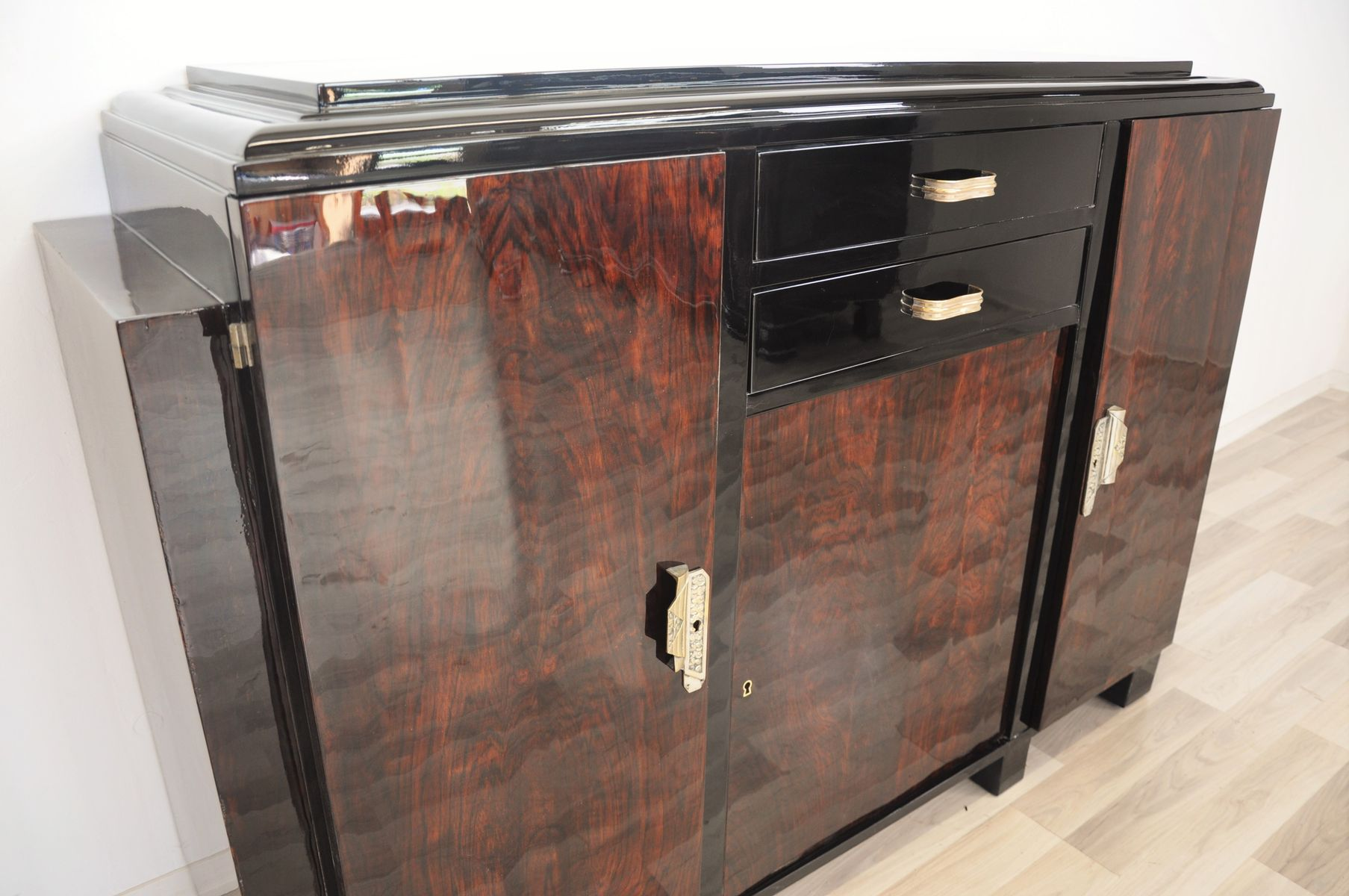 Small Art Deco Buffet with Mahogany Veneer, 1930s for sale at Pamono