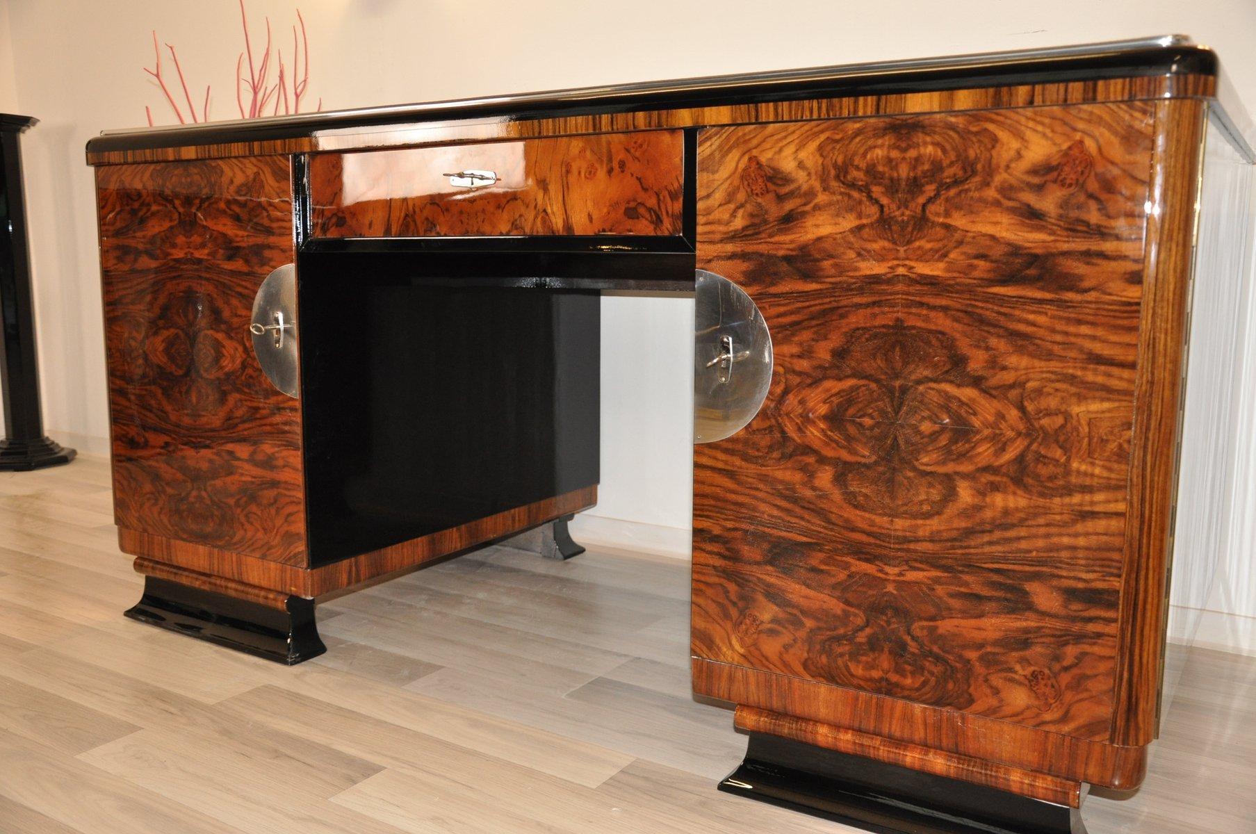 Art Deco Desk With Burl Wood Doors