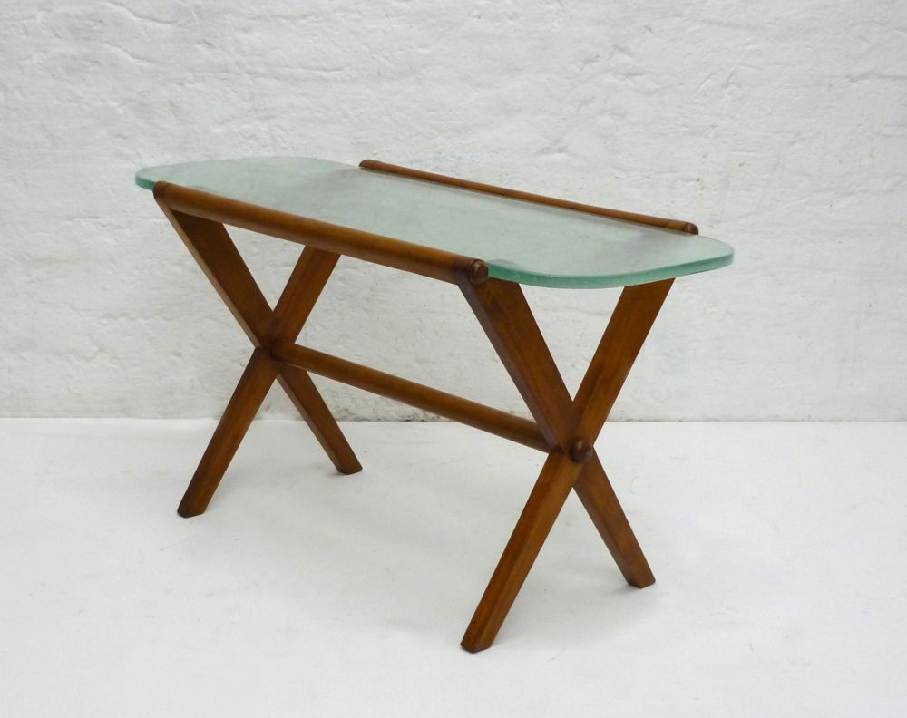Glass top side table 1950s