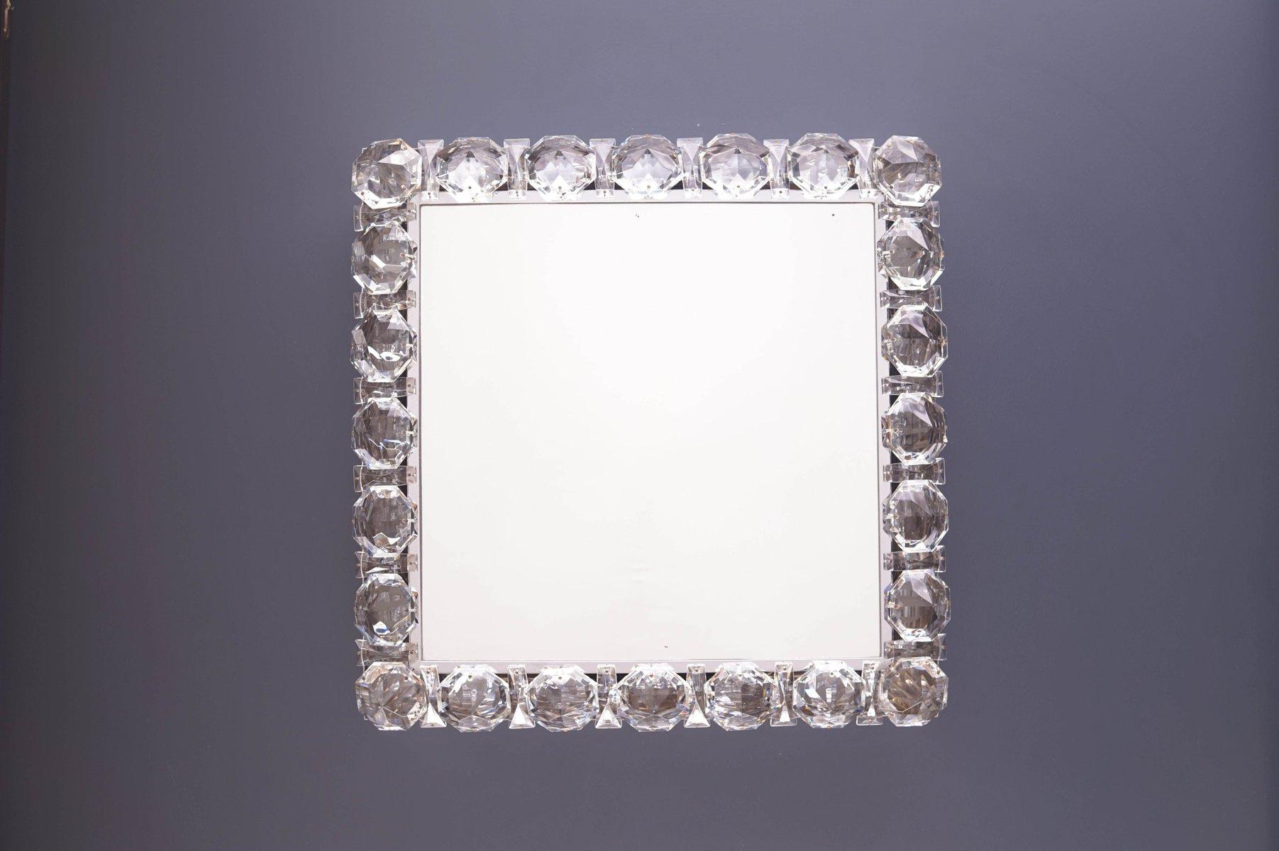Beleuchteter Spiegel mit Glaskristallen von Palwa 1960er