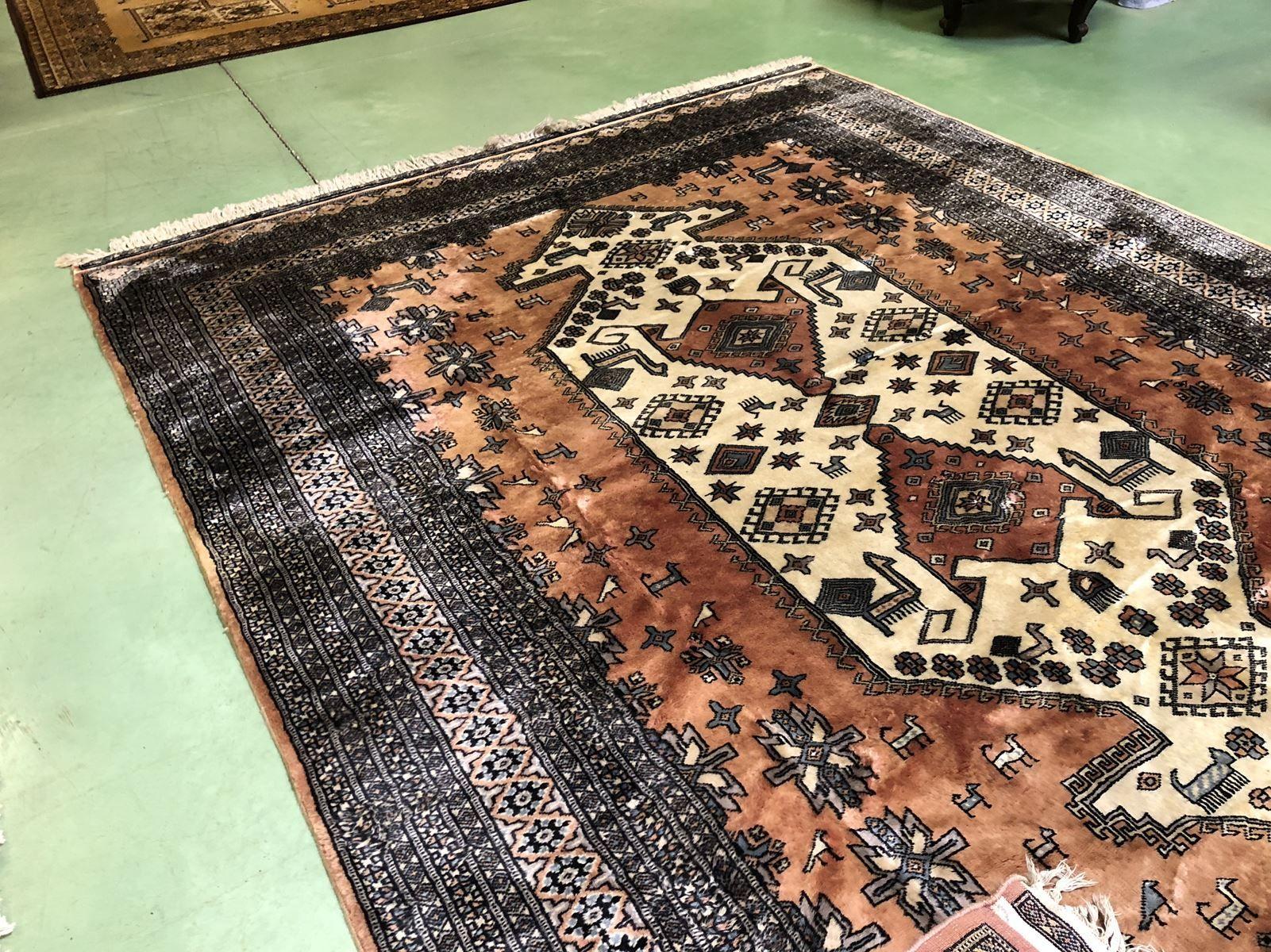 gro er vintage teppich aus wolle seide bei pamono kaufen. Black Bedroom Furniture Sets. Home Design Ideas