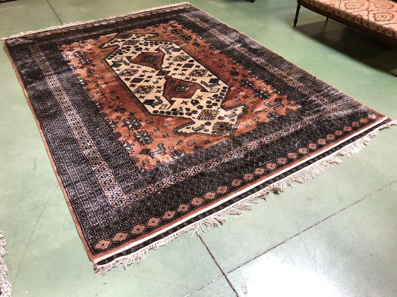 Large Vintage Wool Silk Rug