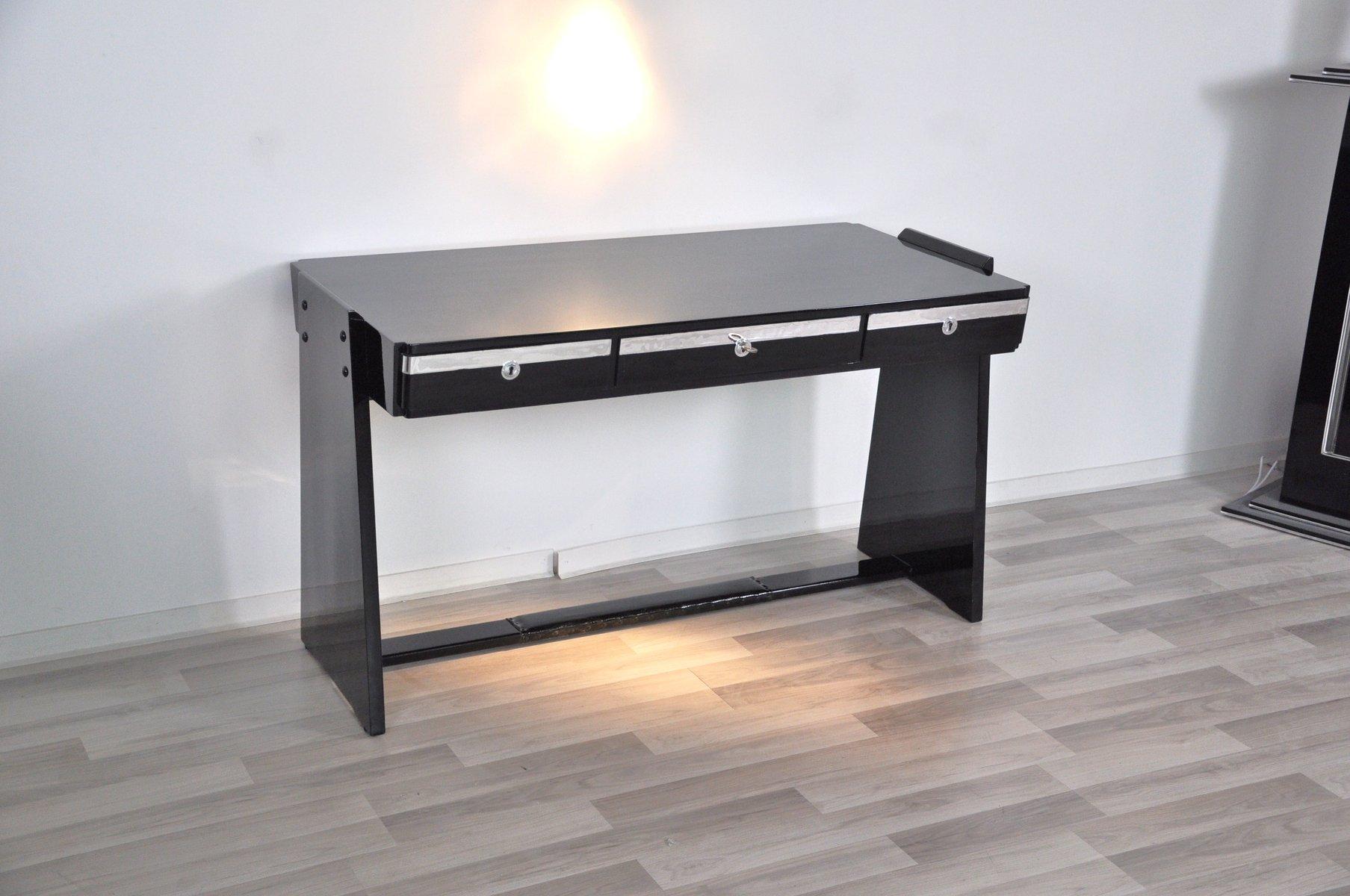 Bureau metal et verre noir ecosia