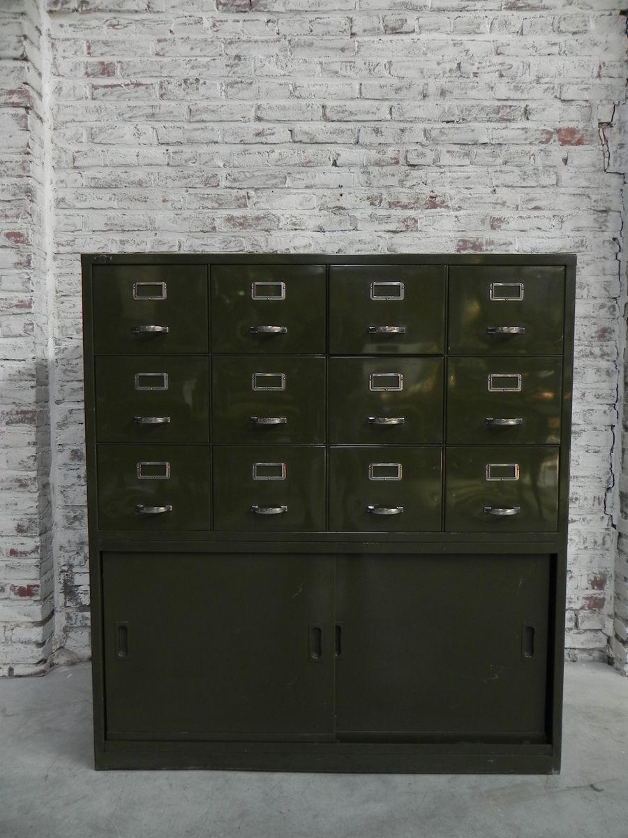 Industrielle Mid-Century Kommode aus Stahl mit 12 Schubladen