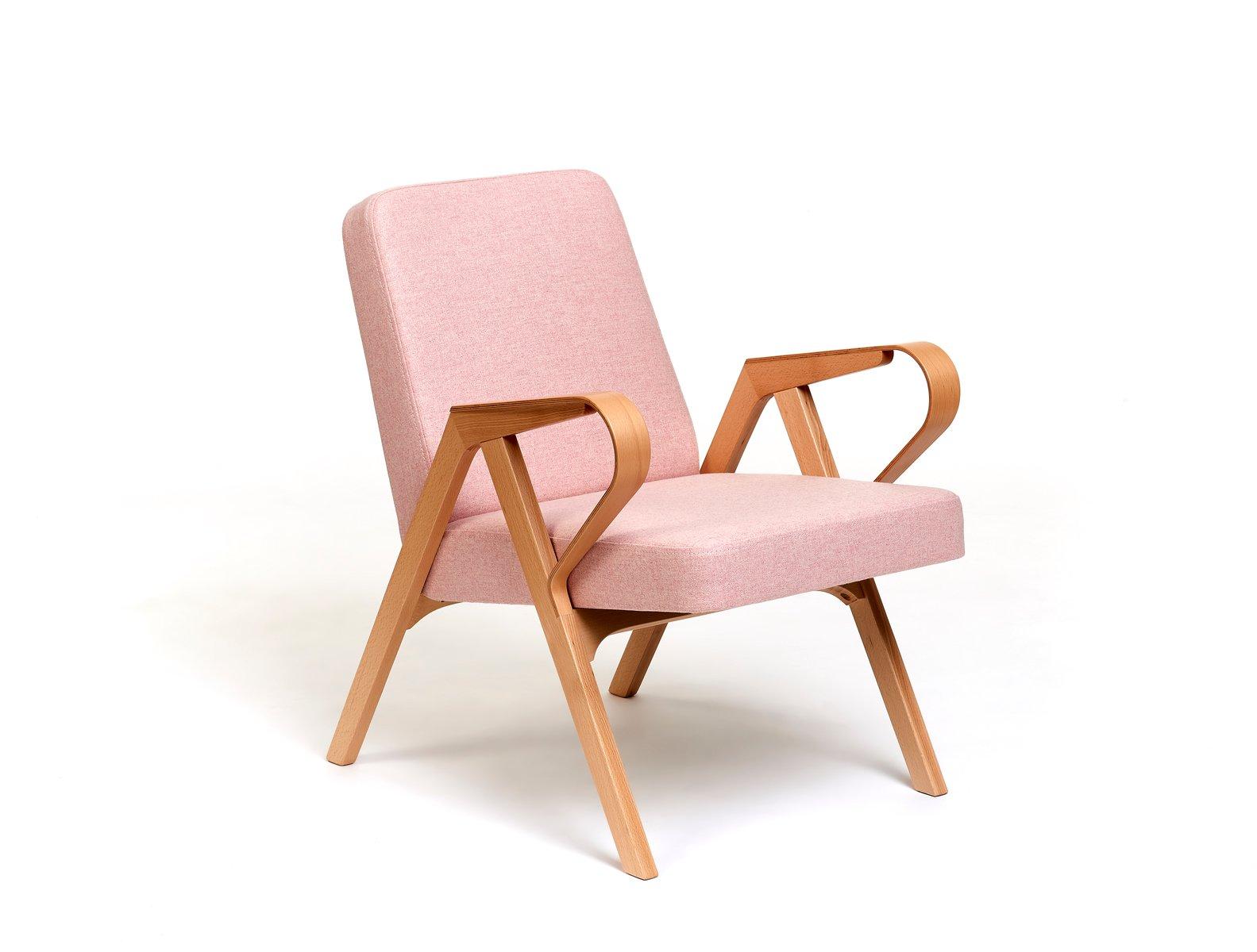 Aurora Polsterstuhl in rosa Wolle von Hunik Design