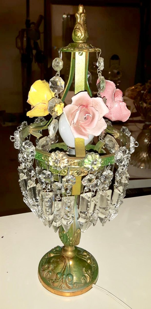 Vintage Tischlampen aus Kristallglas mit Porzellanblumen, 2er Set