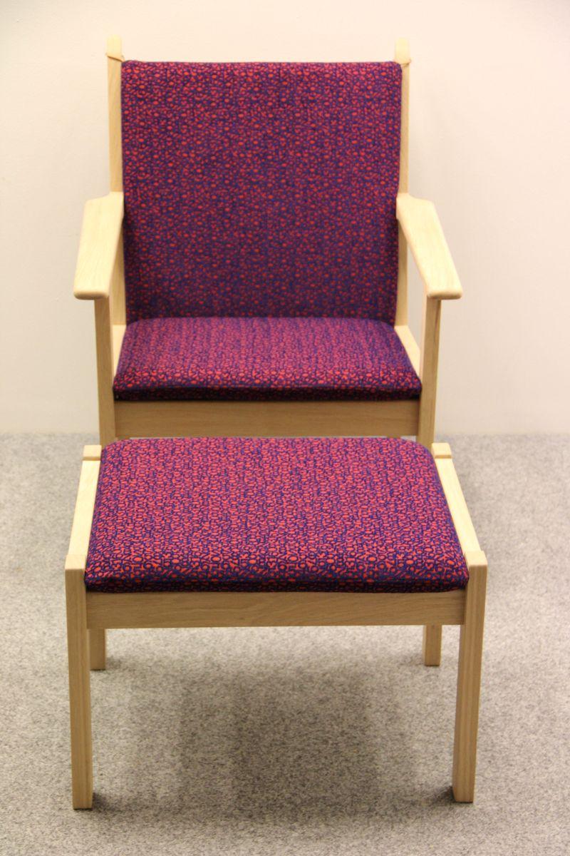 Vintage GE284 Sessel & GE284S Fußhocker von Hans J. Wegner für Getama
