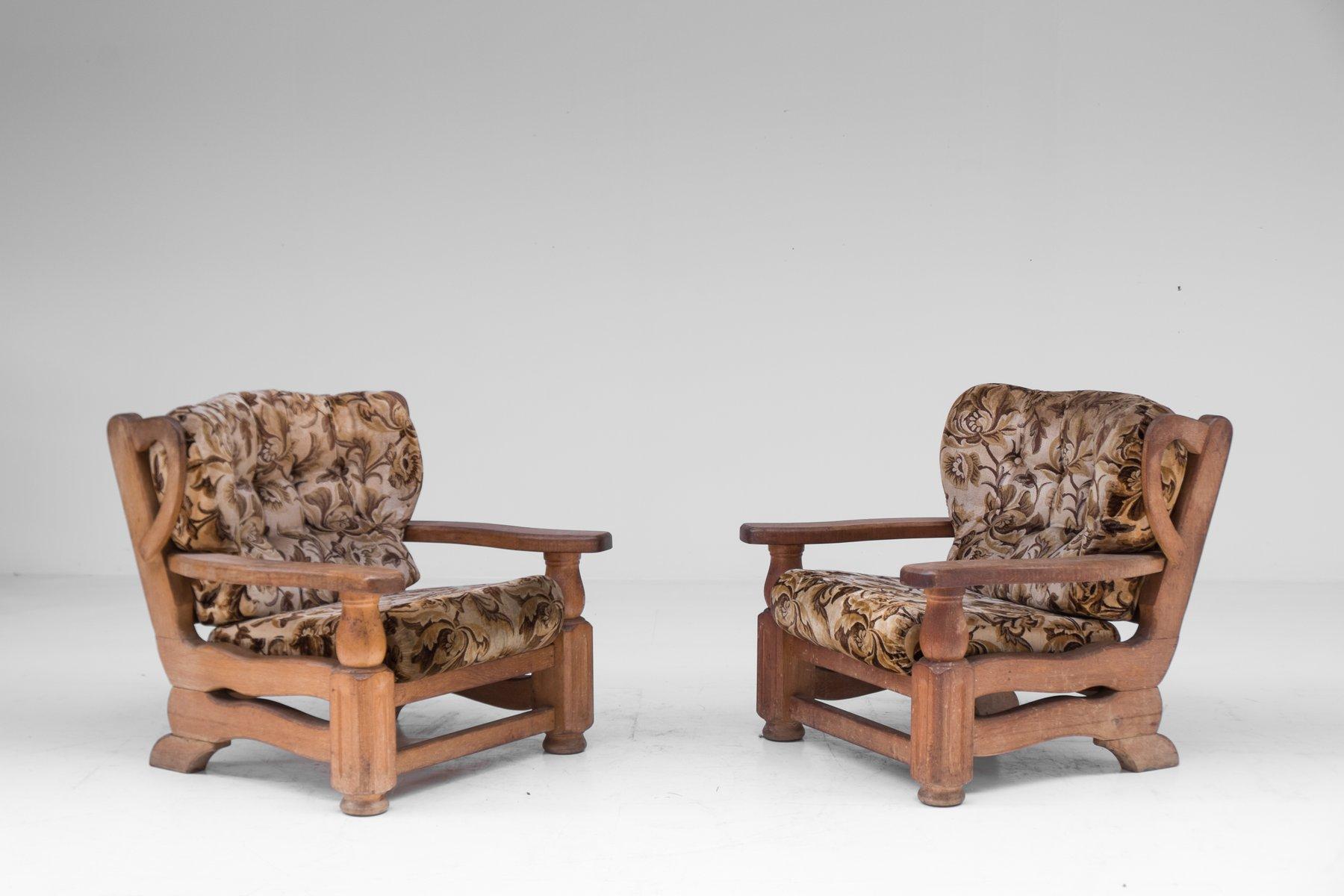Sessel aus Eichenholz, 1940er, 2er Set