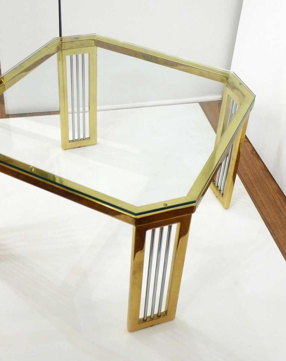 achteckiger couchtisch aus metall glas mit offenen f en 1970er bei pamono kaufen. Black Bedroom Furniture Sets. Home Design Ideas