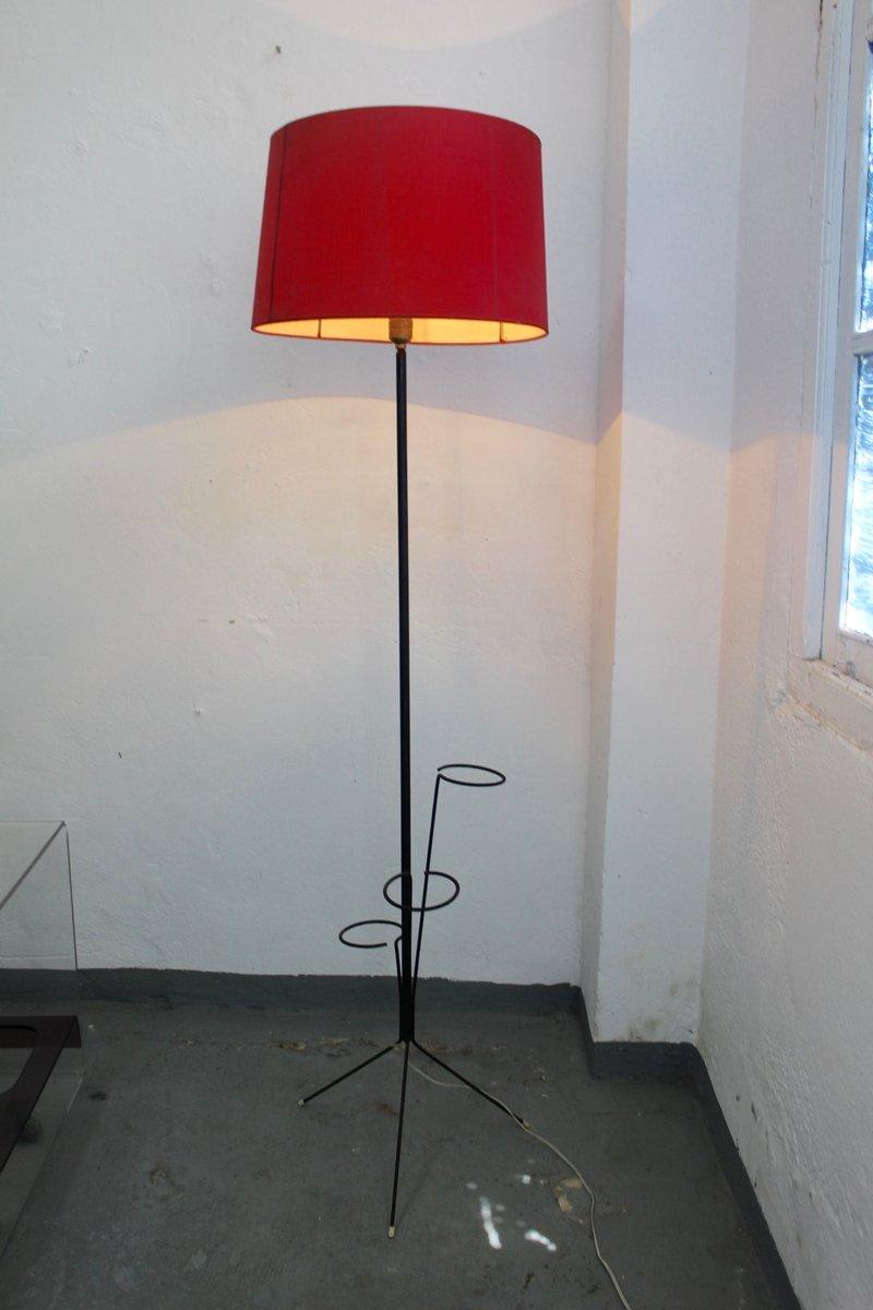 Mid Century Iron Patio Chairs: Mid-Century Iron Floor Lamp With Flowers Pot Holes, 1950s