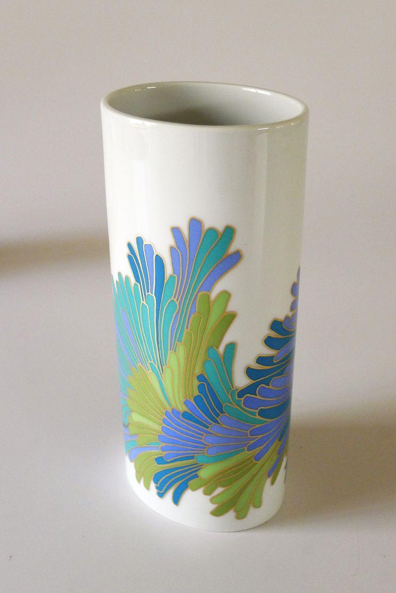 Vase en Porcelaine avec Fleurs Stylisées par Rosamunde Nairac pour  Rosenthal, 1960s 893256ec95b