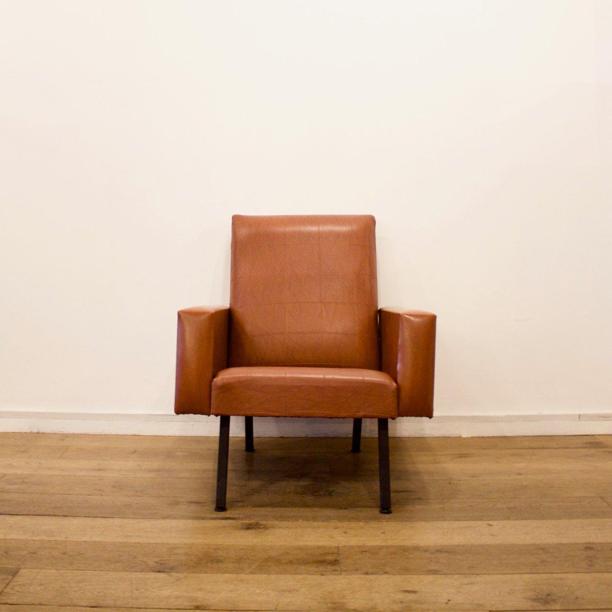Brauner Kunstleder Sessel, 1950er