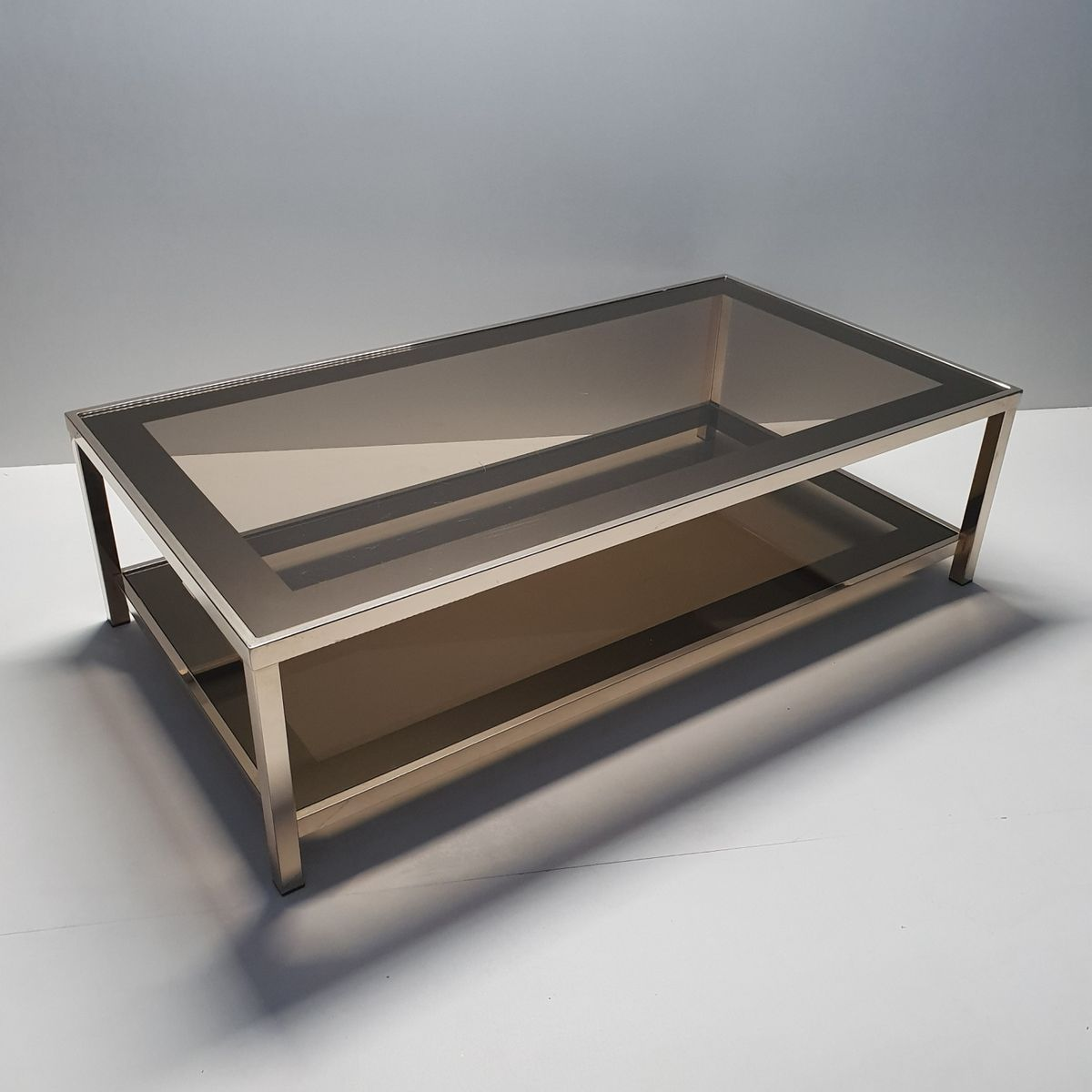 Gold Plated Coffee Table: Gold-Plated Coffee Table With Smoked Glass Shelves By