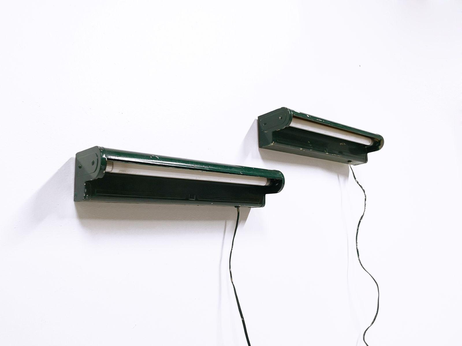 Industrielle Wandlampen von AGI, 1930er, 2er Set