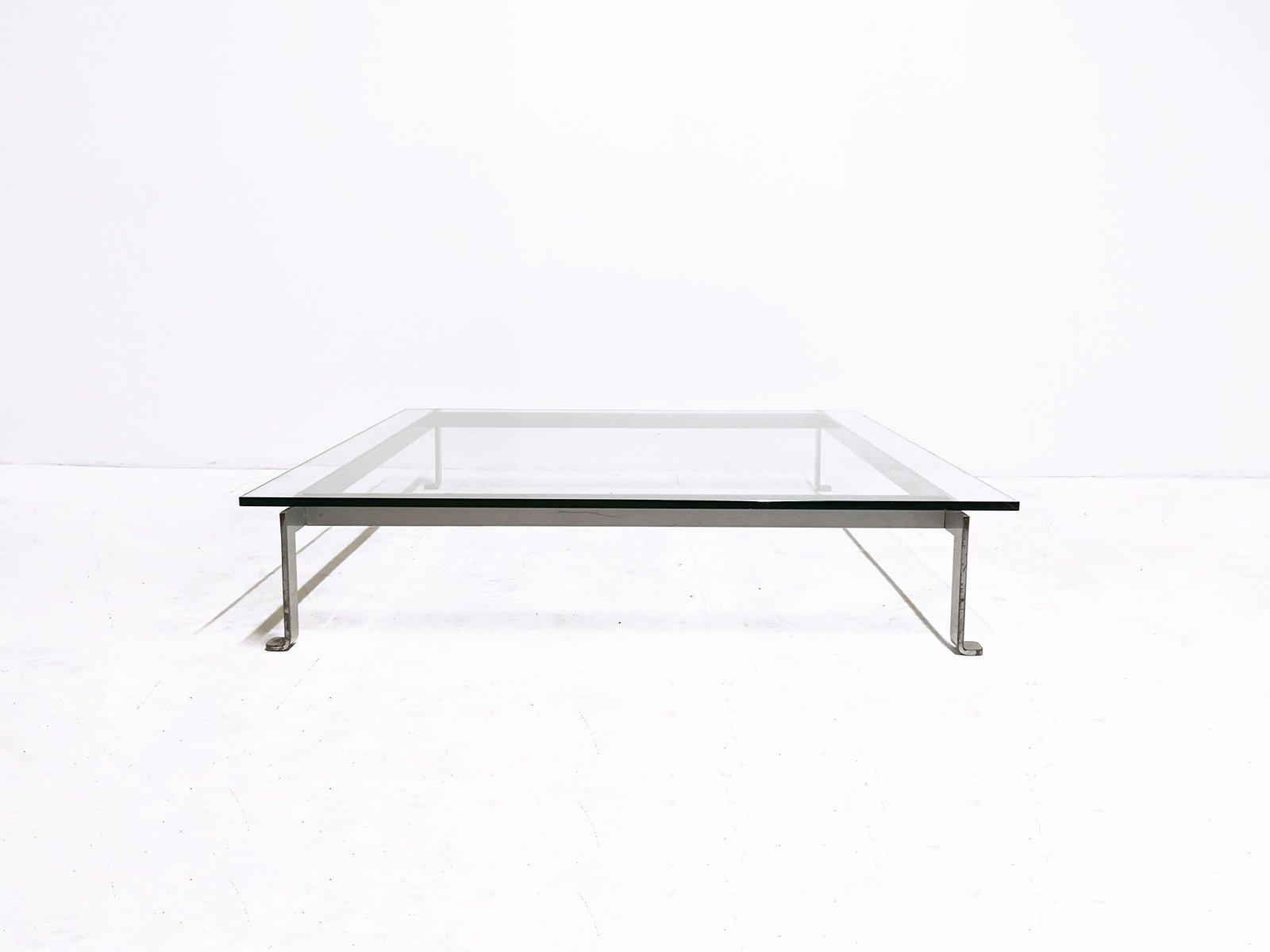 Matte Chrome U0026 Glass Coffee Table, 1960s