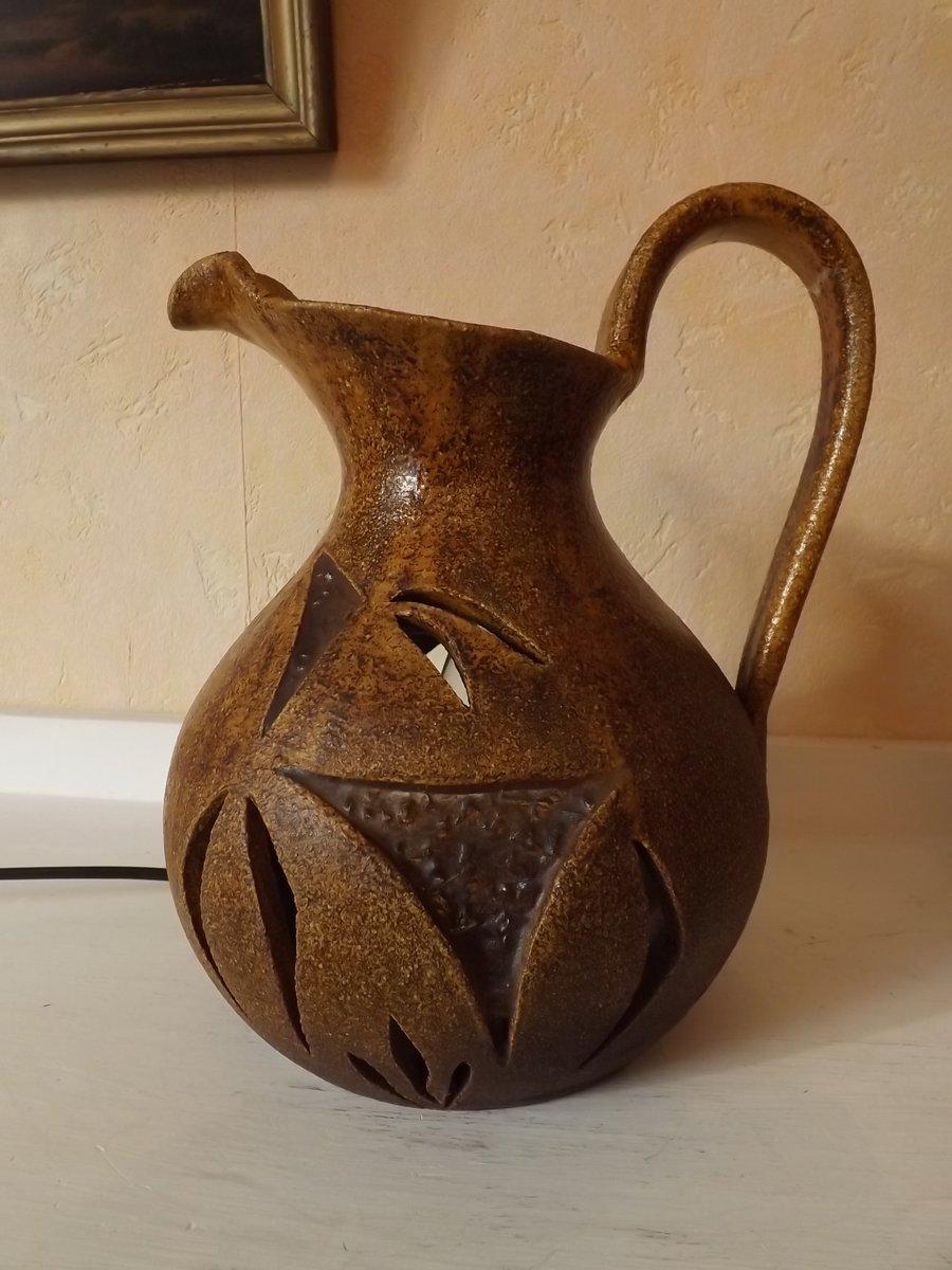 Lampe aus Harz & Keramik in Krugform von Accolay, 1950er