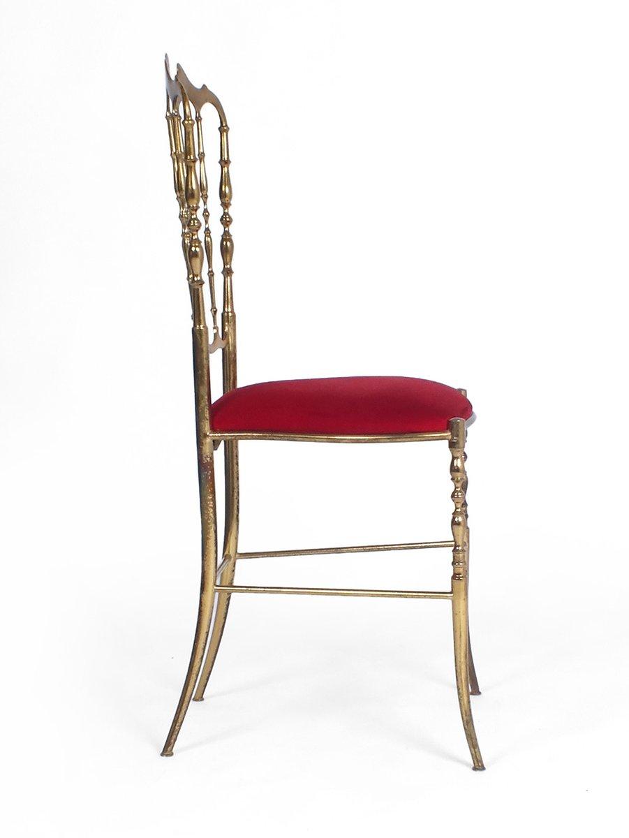 Vintage Red Velvet Chair From Chiavari 1950s 6 326 00