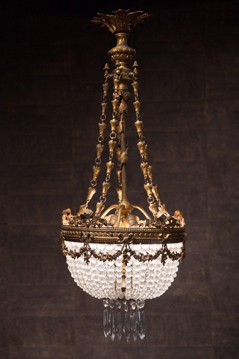Antique French Napoleon Iii Crystal Bronze Chandelier 1870s