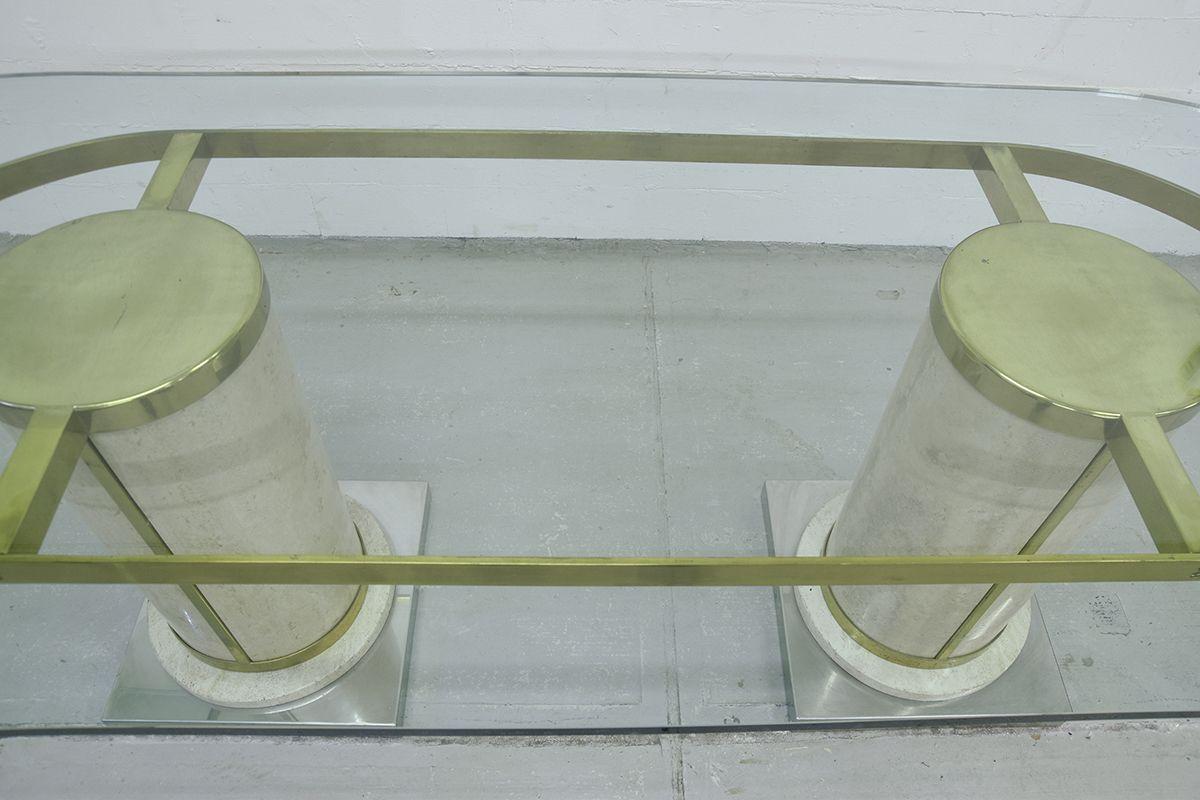 Hollywood regency esstisch aus travertin messing glas for Travertin esstisch
