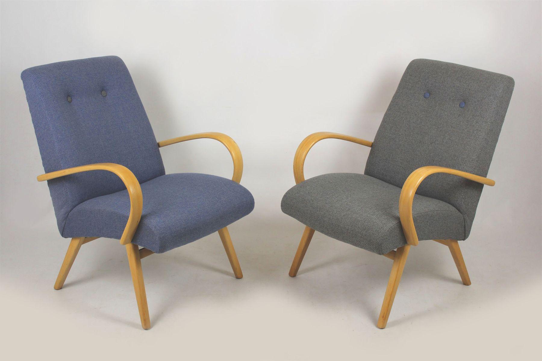 Mid-Century Sessel in Grau & Blau, 1960er, 2er Set