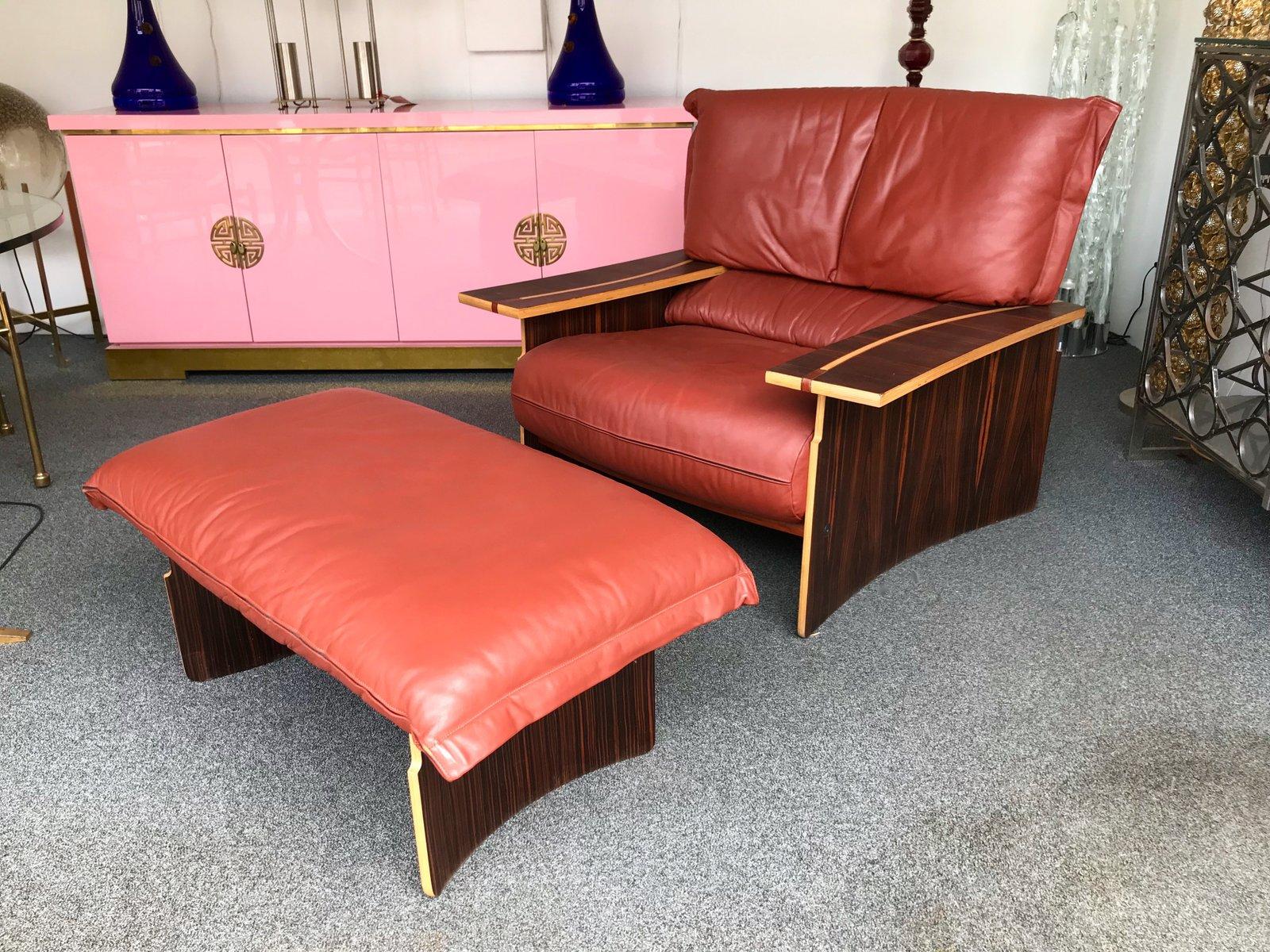 Italienischer Sessel aus Holz & Leder von Poli & Fiori für Bernini, 19...