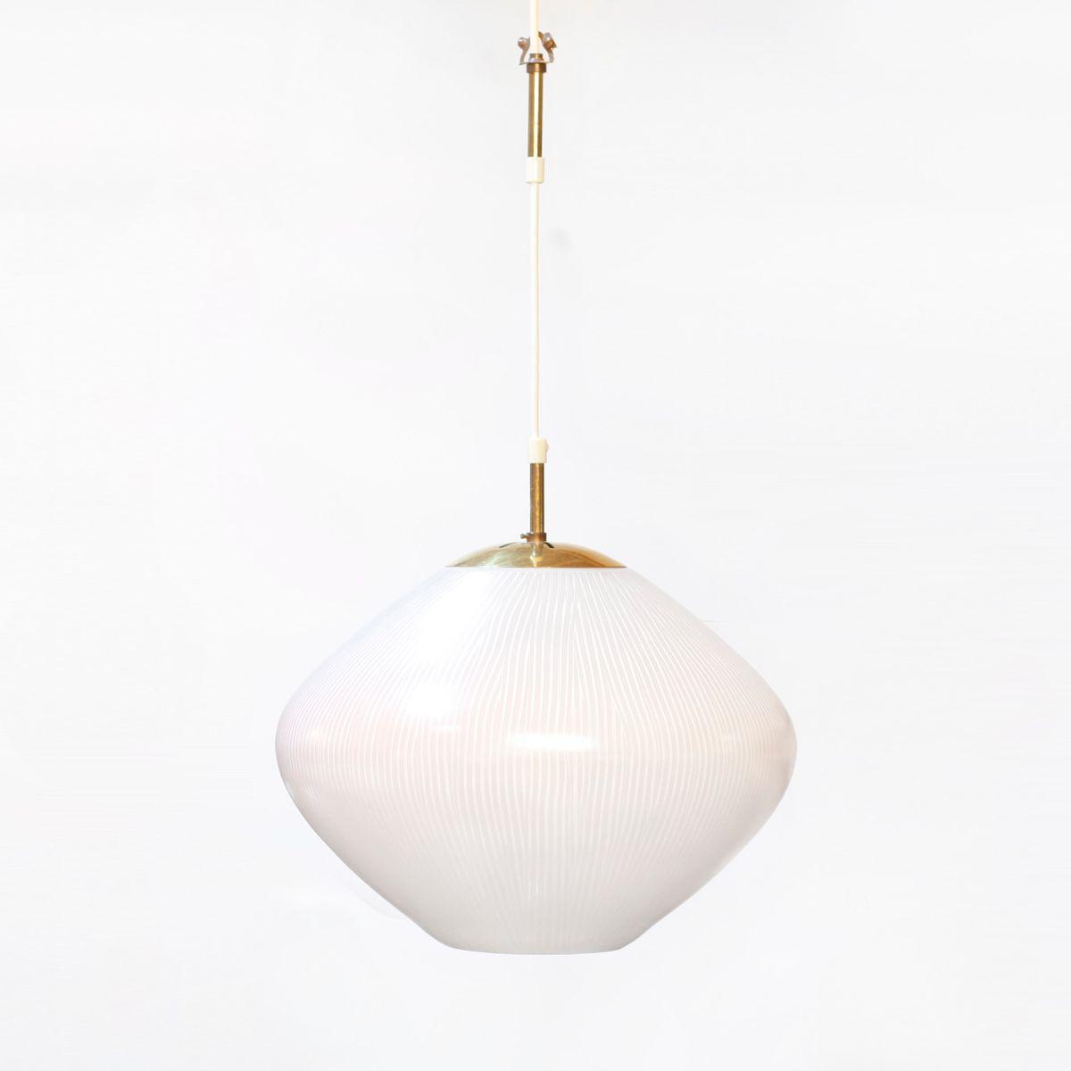 Mid-Century Lampe aus Glas & Messing, 1950er