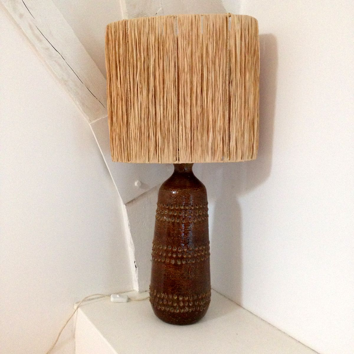 Große Tischlampe aus Keramik von Vallauris, 1960er