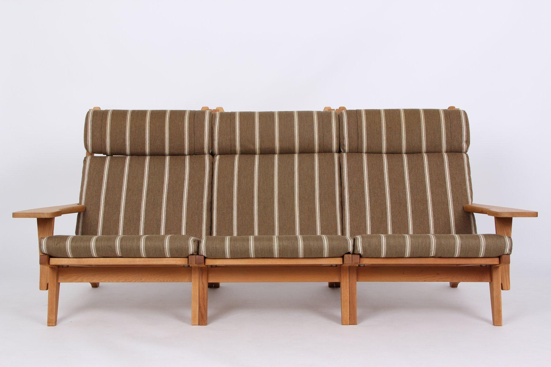 GE375 3-Sitzer Sofa aus Eiche & Wolle von Hans J. Wegner für Getama