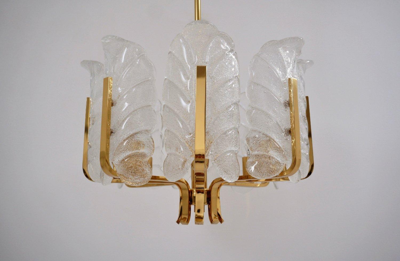 8-Leuchten Kronleuchter aus Messing mit Glasblättern von Carl Fagerlun...