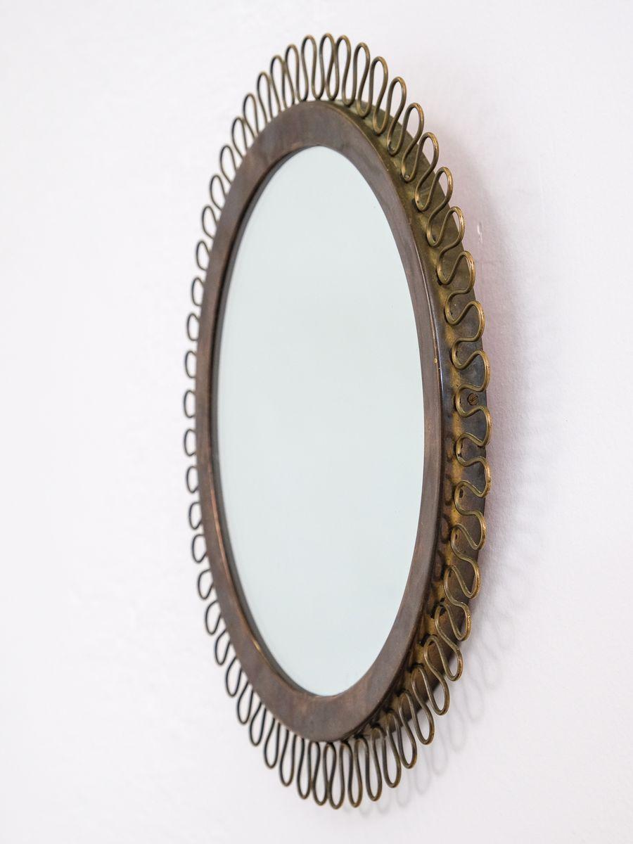 Runder mid century spiegel aus messing 1950er bei pamono kaufen - Runder spiegel gold ...